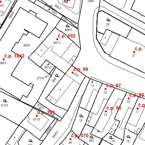 Katastrální mapa Stavební objekt Holice 99, Holice