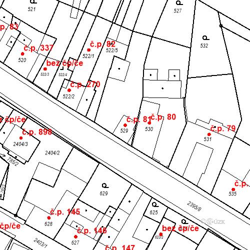 Katastrální mapa Stavební objekt Holice 81, Holice