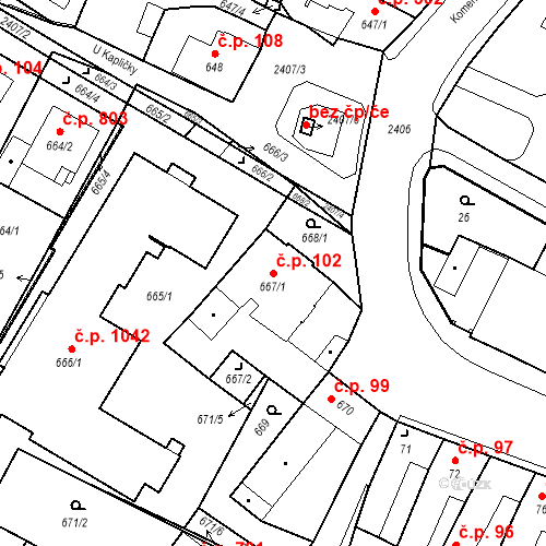 Katastrální mapa Stavební objekt Holice 102, Holice