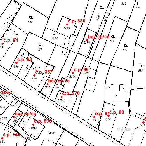 Katastrální mapa Stavební objekt Holice 82, Holice