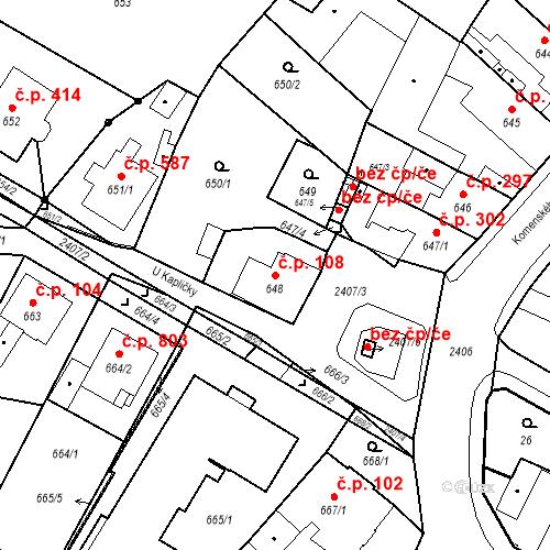 Katastrální mapa Stavební objekt Holice 108, Holice
