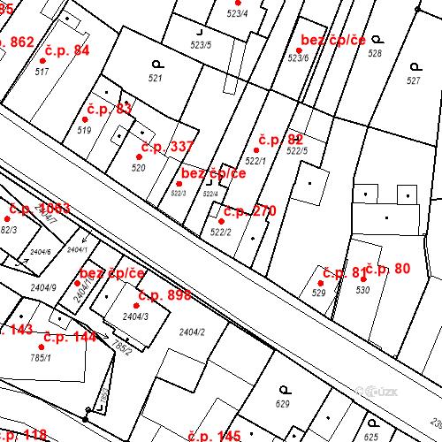Katastrální mapa Stavební objekt Holice 270, Holice