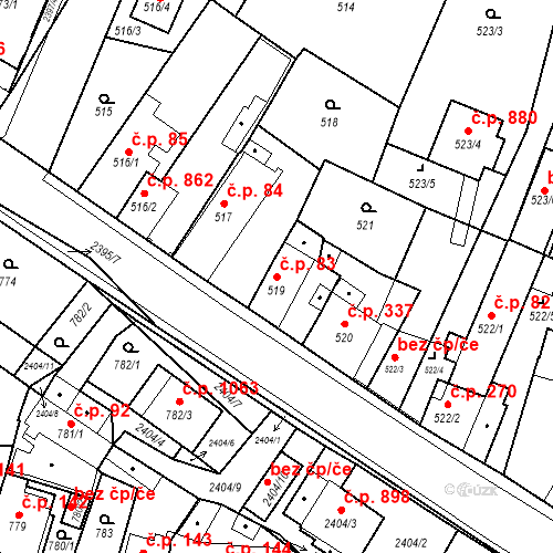 Katastrální mapa Stavební objekt Holice 83, Holice