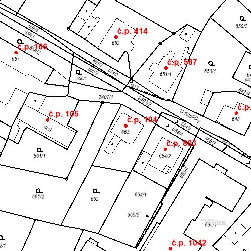 Katastrální mapa Stavební objekt Holice 104, Holice