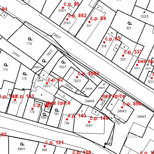 Katastrální mapa Stavební objekt Holice 1063, Holice