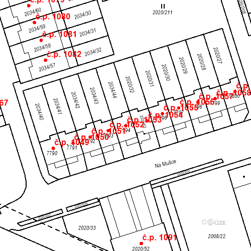 Katastrální mapa Stavební objekt Holice 1053, Holice