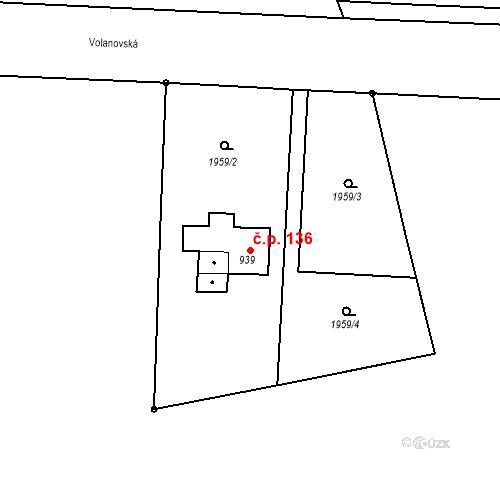 Katastrální mapa Stavební objekt Horní Předměstí 136, Trutnov