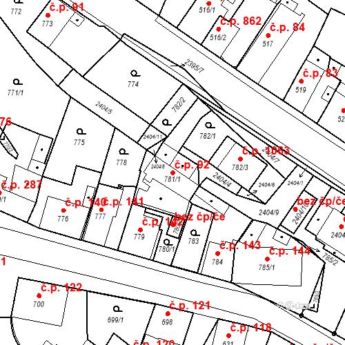 Katastrální mapa Stavební objekt Holice 92, Holice