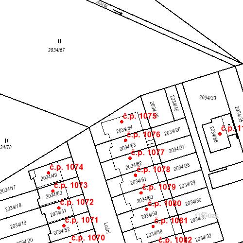 Katastrální mapa Stavební objekt Holice 1075, Holice