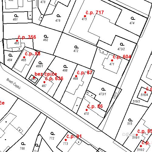 Katastrální mapa Stavební objekt Holice 87, Holice