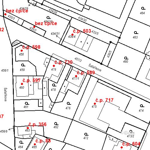 Katastrální mapa Stavební objekt Holice 589, Holice