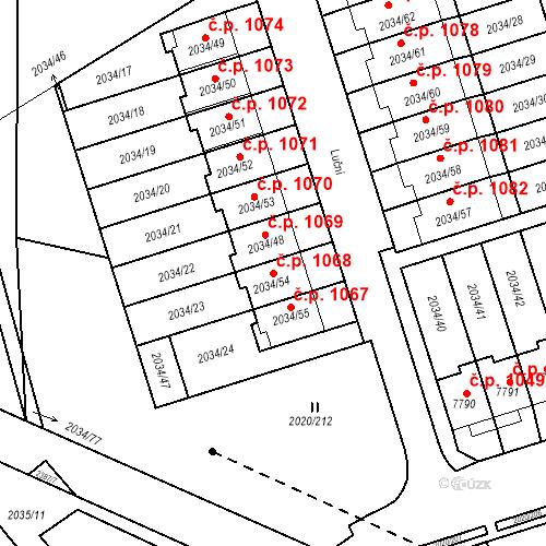 Katastrální mapa Stavební objekt Holice 1068, Holice