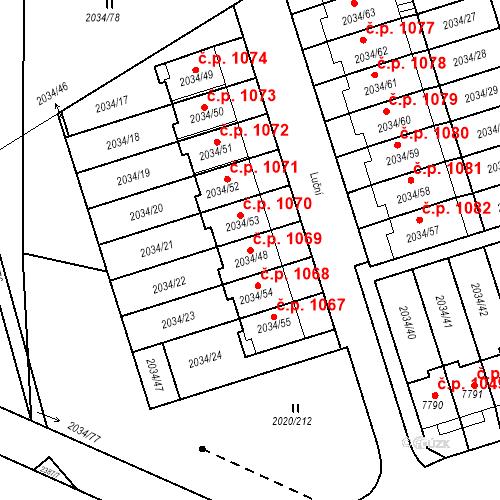 Katastrální mapa Stavební objekt Holice 1069, Holice