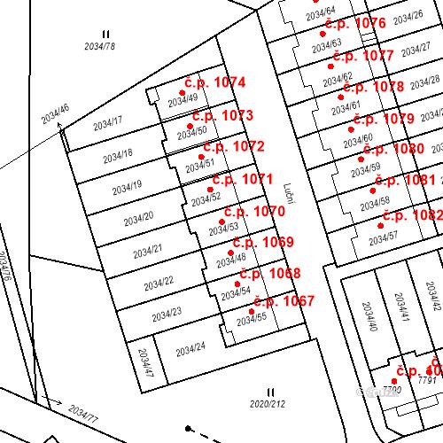 Katastrální mapa Stavební objekt Holice 1070, Holice