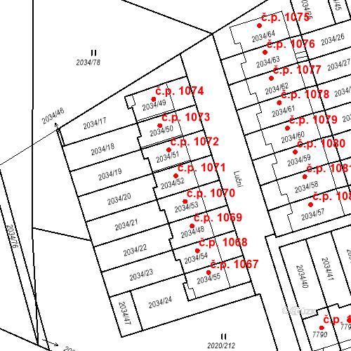 Katastrální mapa Stavební objekt Holice 1071, Holice