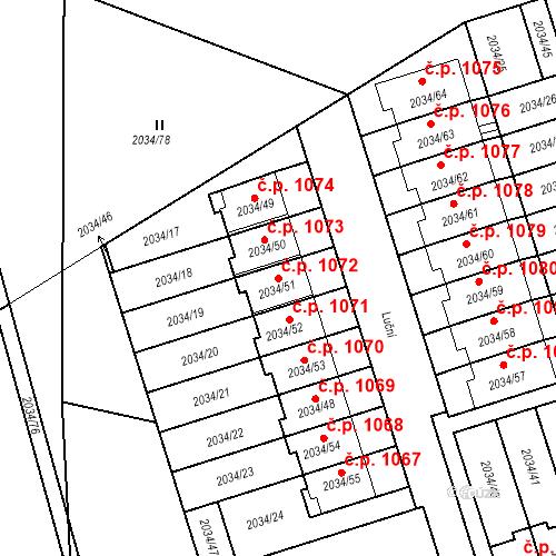 Katastrální mapa Stavební objekt Holice 1072, Holice