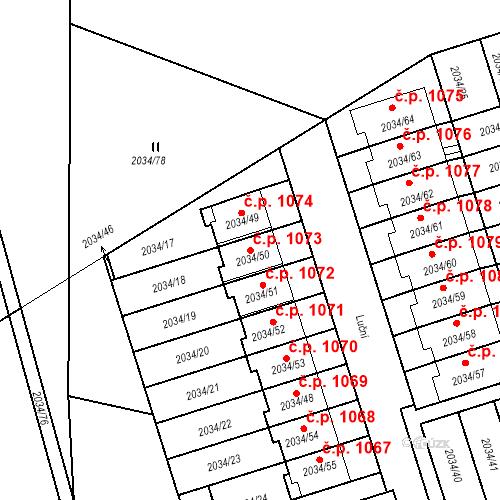 Katastrální mapa Stavební objekt Holice 1073, Holice