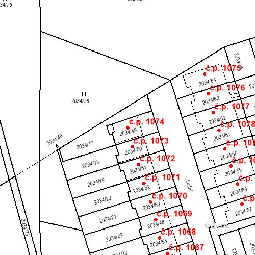 Katastrální mapa Stavební objekt Holice 1074, Holice