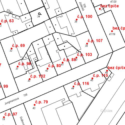 Katastrální mapa Stavební objekt Josefov 85, Jaroměř