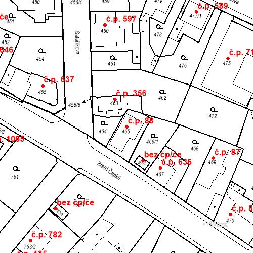 Katastrální mapa Stavební objekt Holice 88, Holice