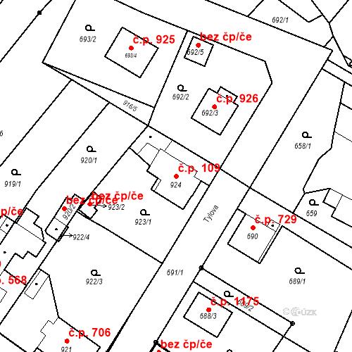 Katastrální mapa Stavební objekt Holice 109, Holice