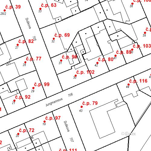 Katastrální mapa Stavební objekt Josefov 102, Jaroměř