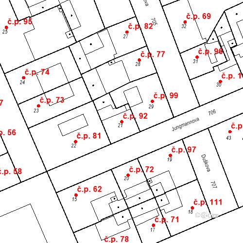 Katastrální mapa Stavební objekt Josefov 92, Jaroměř