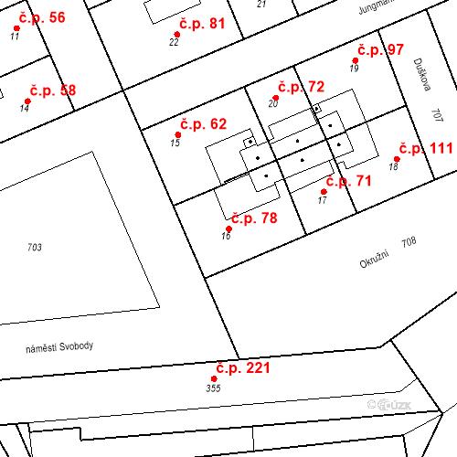 Katastrální mapa Stavební objekt Josefov 78, Jaroměř