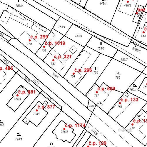 Katastrální mapa Stavební objekt Holice 296, Holice