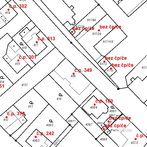 Katastrální mapa Stavební objekt Jakubské Předměstí 349, Jaroměř