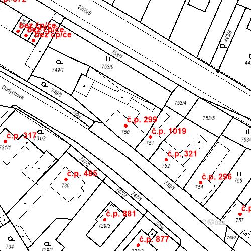 Katastrální mapa Stavební objekt Holice 299, Holice