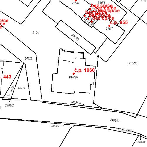 Katastrální mapa Stavební objekt Holice 1060, Holice