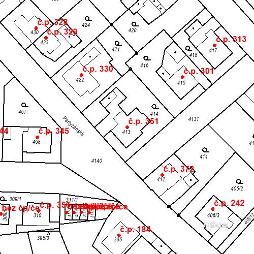 Katastrální mapa Stavební objekt Jakubské Předměstí 351, Jaroměř