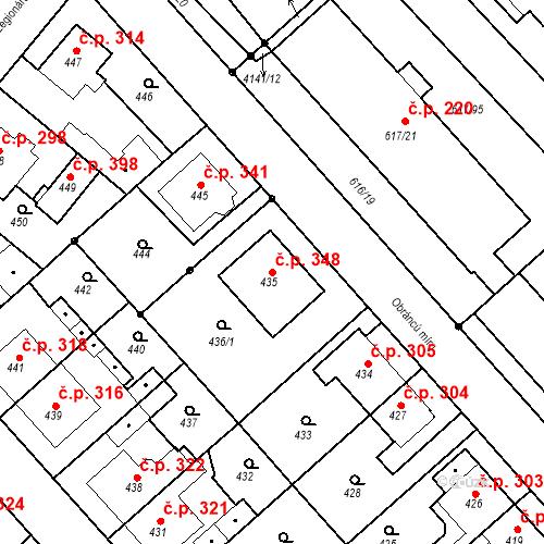 Katastrální mapa Stavební objekt Jakubské Předměstí 348, Jaroměř