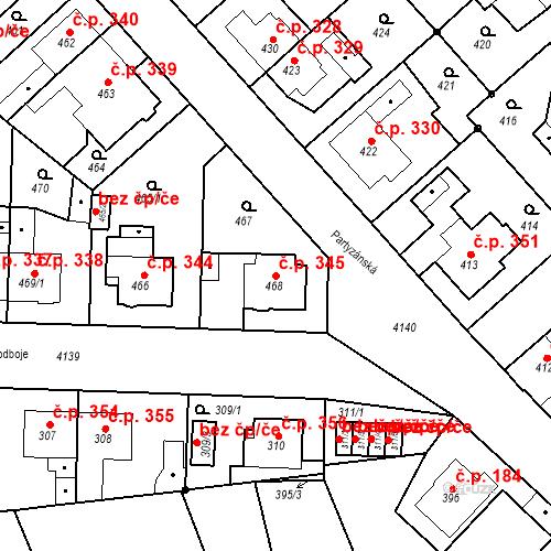 Katastrální mapa Stavební objekt Jakubské Předměstí 345, Jaroměř