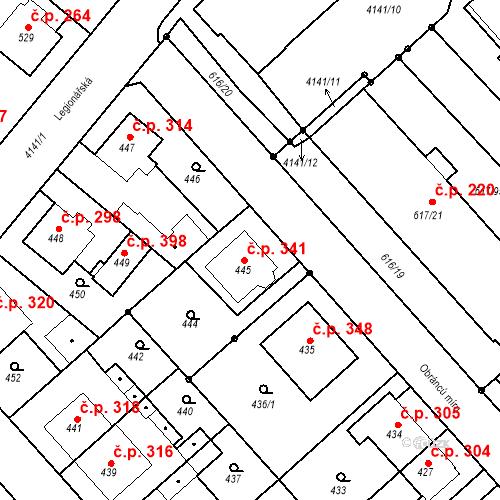 Katastrální mapa Stavební objekt Jakubské Předměstí 341, Jaroměř