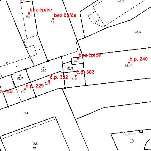 Katastrální mapa Stavební objekt Josefov 383, Jaroměř