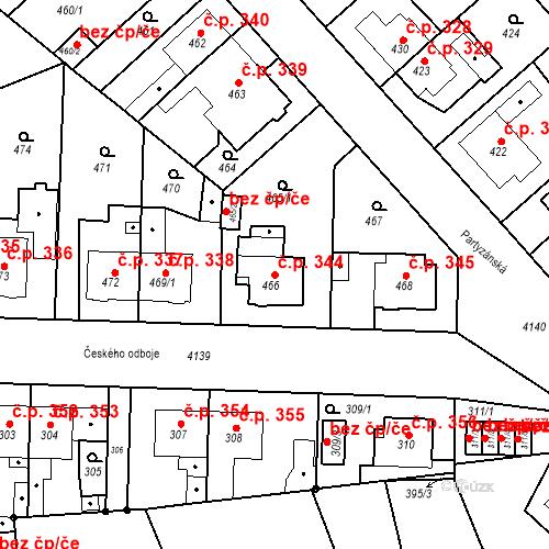 Katastrální mapa Stavební objekt Jakubské Předměstí 344, Jaroměř