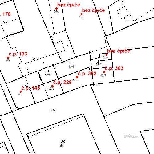 Katastrální mapa Stavební objekt Josefov 382, Jaroměř