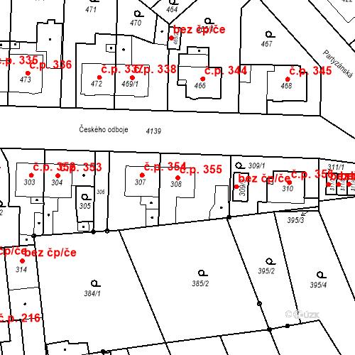 Katastrální mapa Stavební objekt Jakubské Předměstí 355, Jaroměř