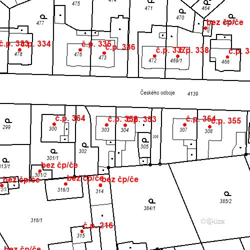 Katastrální mapa Stavební objekt Jakubské Předměstí 353, Jaroměř