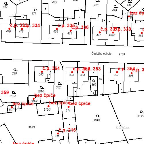 Katastrální mapa Stavební objekt Jakubské Předměstí 352, Jaroměř