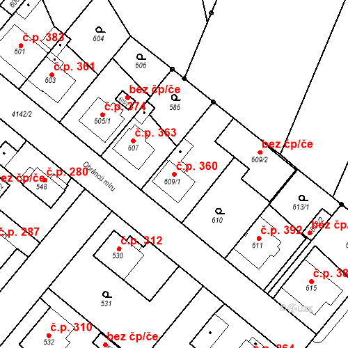 Katastrální mapa Stavební objekt Jakubské Předměstí 360, Jaroměř