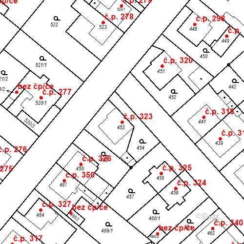Katastrální mapa Stavební objekt Jakubské Předměstí 323, Jaroměř