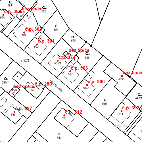 Katastrální mapa Stavební objekt Jakubské Předměstí 363, Jaroměř