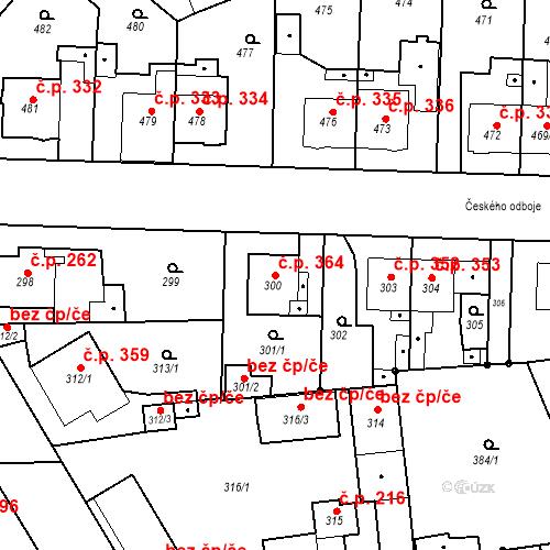 Katastrální mapa Stavební objekt Jakubské Předměstí 364, Jaroměř