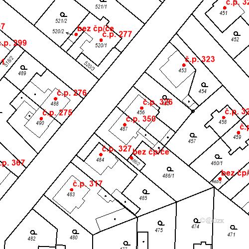 Katastrální mapa Stavební objekt Jakubské Předměstí 350, Jaroměř