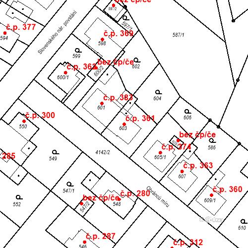 Katastrální mapa Stavební objekt Jakubské Předměstí 361, Jaroměř