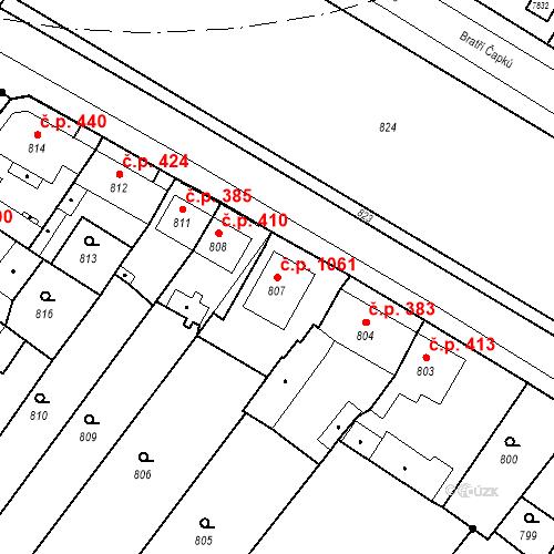 Katastrální mapa Stavební objekt Holice 1061, Holice