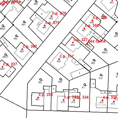 Katastrální mapa Stavební objekt Jakubské Předměstí 317, Jaroměř